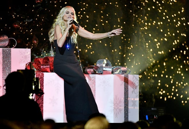 """Kristin Chenoweth before she performs during the taping of """"CMA Country Christmas"""" at the Curb Center on Belmont campus Wednesday, Sept. 25, 2019, in Nashville, Tenn."""