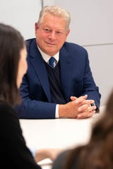 Former Vice President Al Gore listens to a reporter's question at Eskind Biomedical Library Wednesday, Nov. 20, 2019 in Nashville, Tenn.