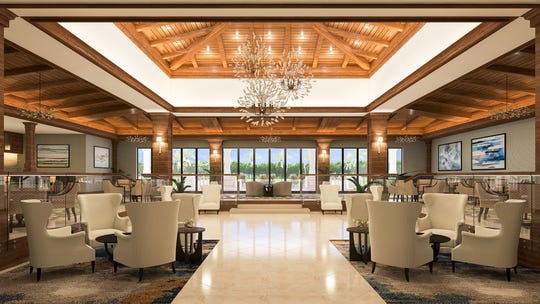 Artist rendering of Vineyards Country Club's main lobby renovations.