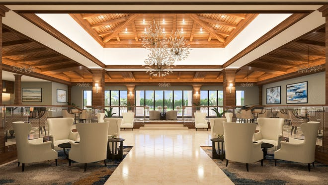 Artist rendering of Vineyards Country Club's main lobby renovations.