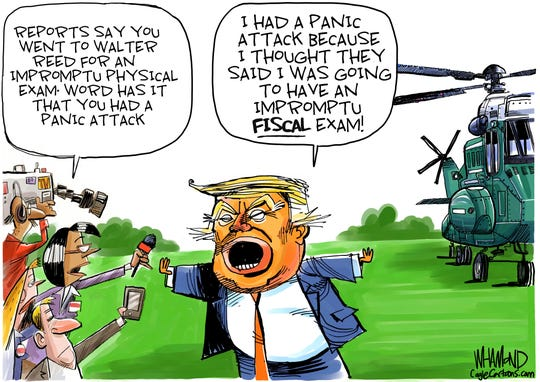 Trump's trip to hospital.