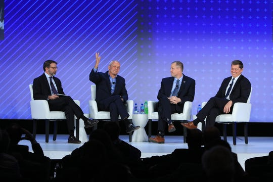 A panel of space leaders discussed the future of the industry Nov. 19, 2019, during the Global Financial Leadership Conference in North Naples at The Ritz-Carlton by the beach. From left, panel moderator Chris Davenport, Washington Post space editor; Stephen Attenborough, Virgin Galactic commercial director; NASA Administrator Jim Bridenstine; and Tim Hughes, SpaceX senior vice president and general counsel.