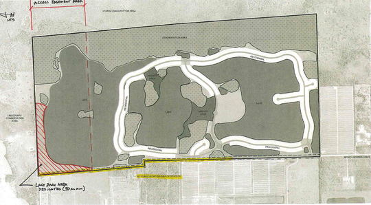 Seven hundred homes could fill the more than 1,200-acre Bonita Grande Mines in northeast Bonita Springs, according to a lawsuit settlement. The city could own 248 acres on the northern end of the property with access to another 248 acres, shown as the box on the left side of the illustration.