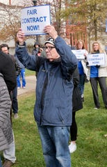 Full and part-time faculty unions at Montclair State University joined hundreds of other union members at nine NJ colleges to call attention to contentious contract negotiations.