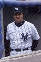 New York Yankees manager Joe Torre  during the New York Yankees workout at Yankee stadium, Sun., April 1, 2001.