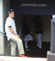 At the 20-year reunion of the New York Yankees' 1998 World Championship team on Aug. 18, 2018, former manager Joe Torre on the steps of the Yankee dugout where he was when these celebrated Yankees won the World Series.