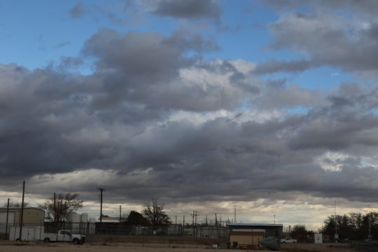 Clouds dot the Carlsbad landscape Wednesday morning after early morning rains fell in Eddy County.