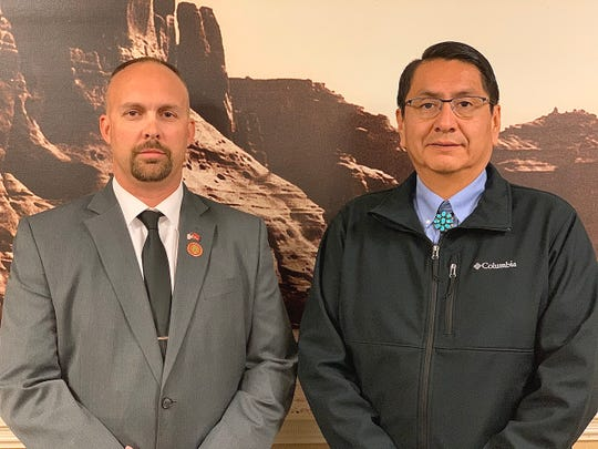 James D. Zwierlein, left, stands with Navajo Nation President Jonathan Nez. Zwierlein became the executive director for the Navajo Nation Veterans Administration on Nov. 18.