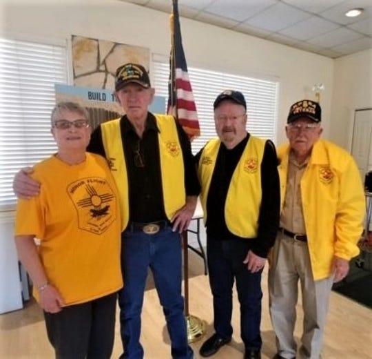 Veterans talked to the Federated Republican Women of Lincoln Cou nty about Honor Flights. From left are Beth Ann Preston, Honor Flight Guardian, and veterans Bill Parrish, Eddie Parker and Joe Tarry.