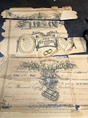 The 1897 marriage license of Nellie and Emory Williams. Nellie is great-grandmother of Susan Choma of Novi. Both women are descendants of William Bradford, a Mayflower pilgrim.
