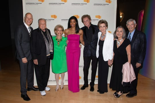 Renée Elise Goldsberry poses with David Zippel, Harold Matzner, Annette Bloch, Barry Manilow, Terri Ketover and former Senator Barbara and Stewart Boxer.