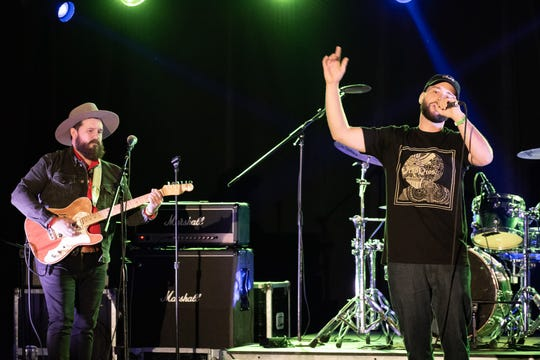 "James Dorris of Reborn by the Sunshine (left) and Provoked (right) perform ""One Life"" at the CV Music Awards at Hotel Zoso in Palm Springs, Calif. on May 29, 2019."