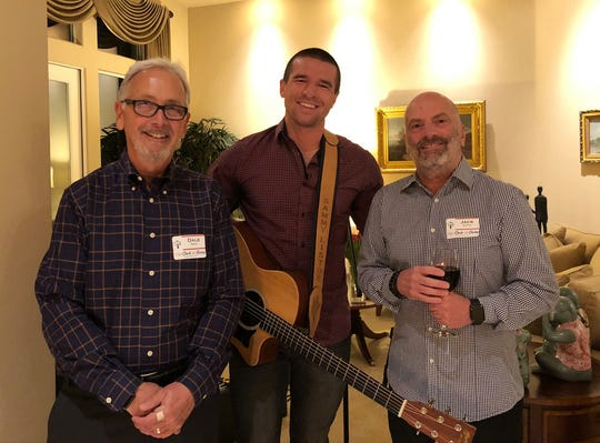 Dale Smith, a guest musician and Jack Alotto attend the launch party of 150 Circle of Giving in Nov. 2019.