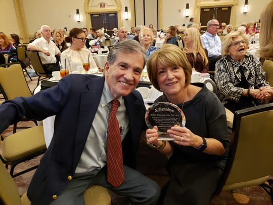 The Distinguished Service Award was presented to Eisenhower Health Foundation speech therapist Arlene Schwartz, pictured with her husband Ron.