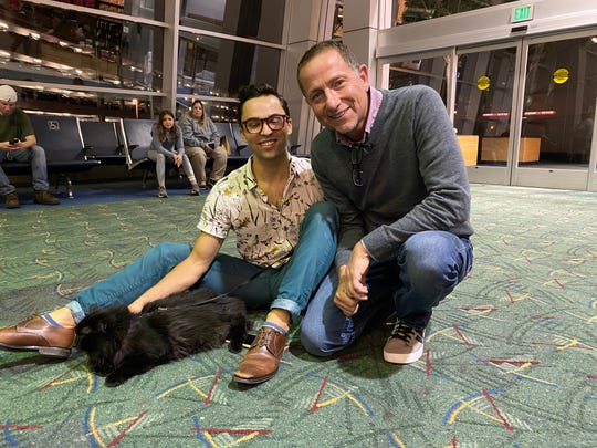 Sasha was reunited with owner Viktor Usov (left) on Nov. 19, 2019, at the Portland International Airport after five years apart.