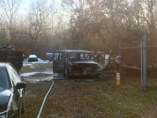 Firefighters responded to a vehicle fire in Marysville about 3 p.m. Wednesday.