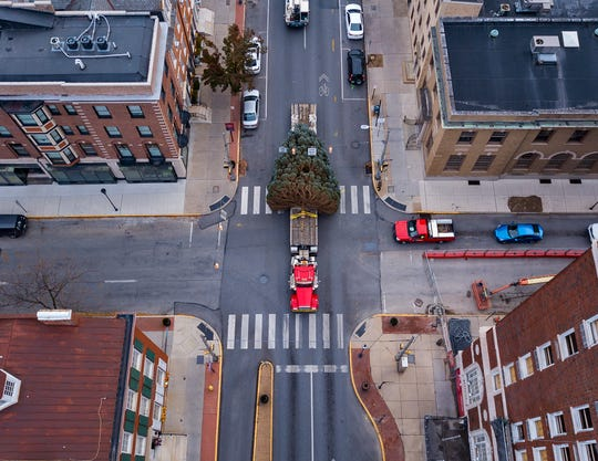 York City's Christmas tree travels the wrong way down E. Market Street to Continental Square from Springettsbury Township, Wednesday, November 20, 2019. The 30 plus-foot blue spruce was donated by John and Kathy Rhoads.John A. Pavoncello photo
