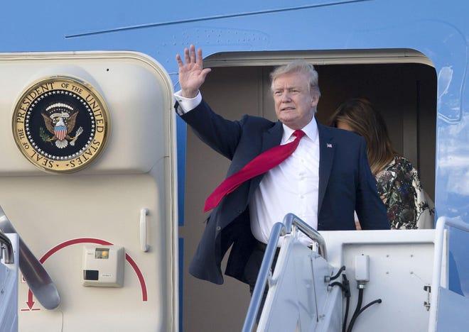 President Donald Trump arrives at Palm Beach International Airport in West Palm Beach. (Bruce R. Bennett/Palm Beach Post/TNS)