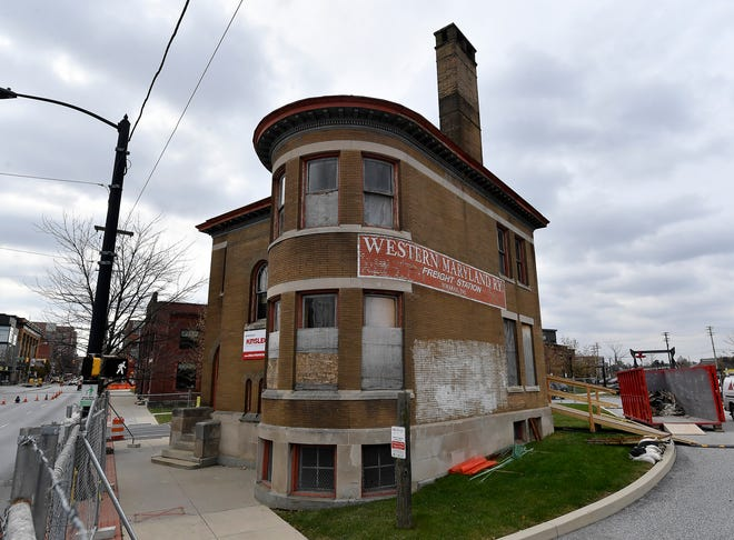 Kinsley Construction is restoring the former Western Maryland Railyard Freight Station on the corner of North George Street and the Codorus Creek.Wednesday, November 20, 2019.John A. Pavoncello photo