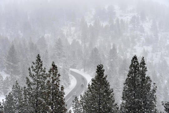 Images of snow along the road to Mt. Rose Ski Resort on Wednesday Nov. 20, 2019.