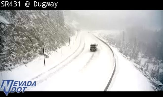 A screenshot of the summit of Mt. Rose Highway as snow falls on the morning of Nov. 20.