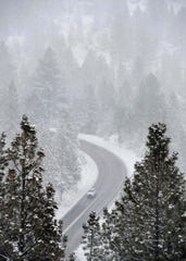 Images of snow along the road to Mt. Rose Ski Resort on Wednesday, Nov. 20, 2019.