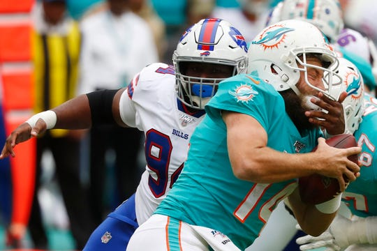 Buffalo Bills defensive tackle Corey Liuget recorded his first sack last week against Miami's Ryan Fitzpatrick.