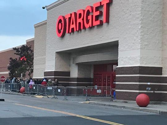 Black Friday lines now start on Thursday. Outside Target in Henrietta  on Thanksgiving 2017.