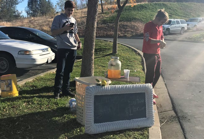 Lemonade stands are typically a summer sight in Redding, but two high school students found a recent abnormally warm November day fitting for lemonade sales outside the Starbucks on Lake Boulevard in Redding.