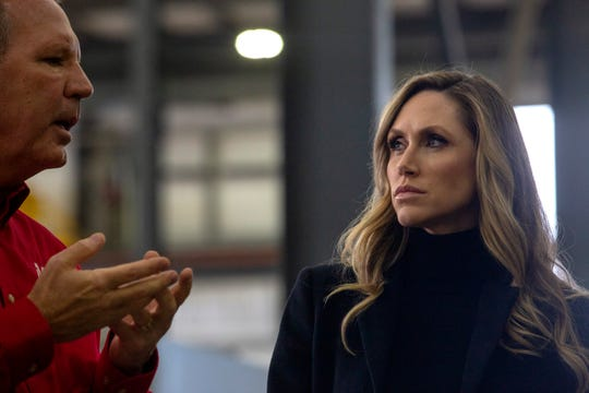 Rob Freres, president of Freres Lumber, speaks to Lara Trump, Donald J. Trump for President, Inc. senior advisor at Freres Lumber in Lyons, Ore. on Nov. 20. A Timber Unity listening session was held to discuss regulation in the timber industry.