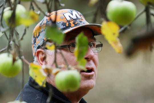 Amateur botanist David Benscoter, of The Lost Apple Project, eyes apples as he works in an orchard near Pullman, Wash. Benscoter and fellow botanist E.J. Brandt have rediscovered at least 13 long-lost apple varieties in homestead orchards, remote canyons and windswept fields in eastern Washington and northern Idaho that had previously been thought to be extinct.