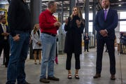 Rob Freres, president of Freres Lumber, gives a tour to Lara Trump, a senior advisor for the Trump reelection campaign, and Brad Parscale, Trump's campaign manager, at Freres Lumber in Lyons, Ore. on Nov. 20.
