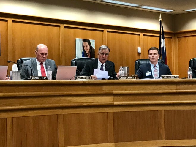 San Angelo ISD Board President Lanny Layman reads a statement during a school board meeting addressing recent bullying at Glenn Middle School. 11/19/19