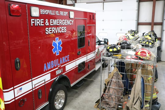 A Bishopville ambulance sits inside the ambulance bay next to some firefighting equipment on Bishopville Road in Bishopville.