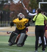 Salisbury University goalie Dom Farrace goes for a save.