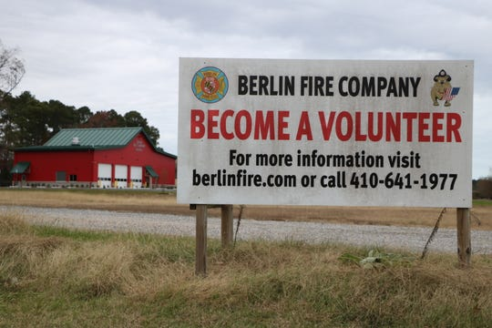 The Berlin Fire Company advertises volunteer opportunities outside its fire station on Route 50 near Berlin.
