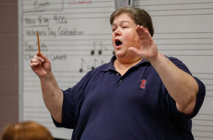 Sherry Nichols, band director for the Sparta School District, directs the concert band at Sparta High School on Monday, Nov. 18, 2019.