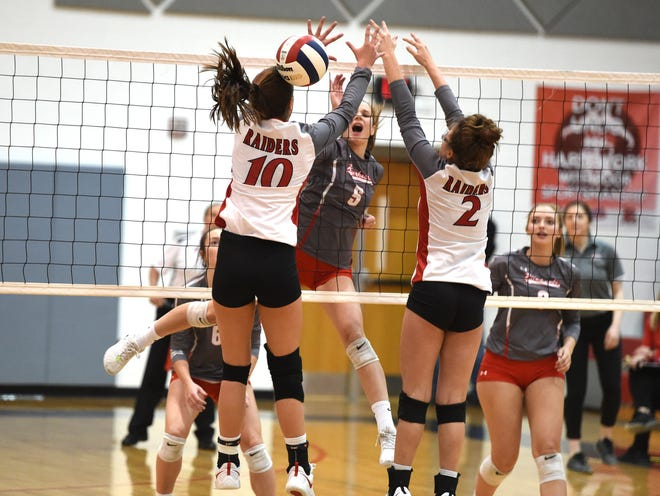 Abbey Eavers with an attack in Riverheads win at Rappahannock Tuesday in the Class 1 state semifinals.