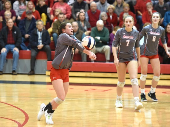 Gracie Fulton passes the ball during Riverheads state semifinal win Tuesday night at Rappahannock.