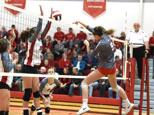 Abbey Eavers finished with 12 kills in Riverheads Class 1 state semifinal win over Rappahannock Tuesday, November 19.