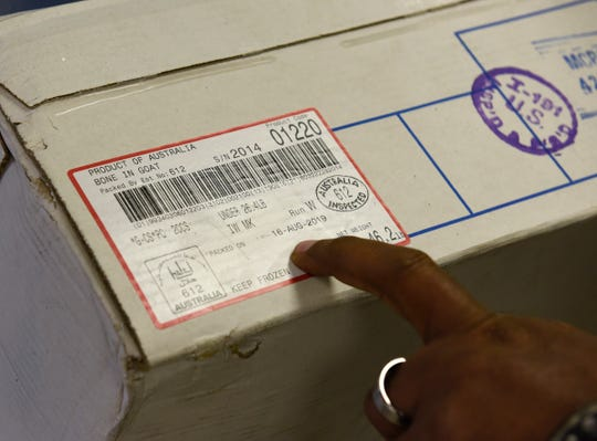 A package of frozen goat meat available at Midnimo Grocery & Halal Meat in St. Cloud on Friday, Nov. 8, 2019 was packaged in August in Australia. Most goat meat available in Central Minnesota is shipped from Australia or New Zealand and often more than six months old.