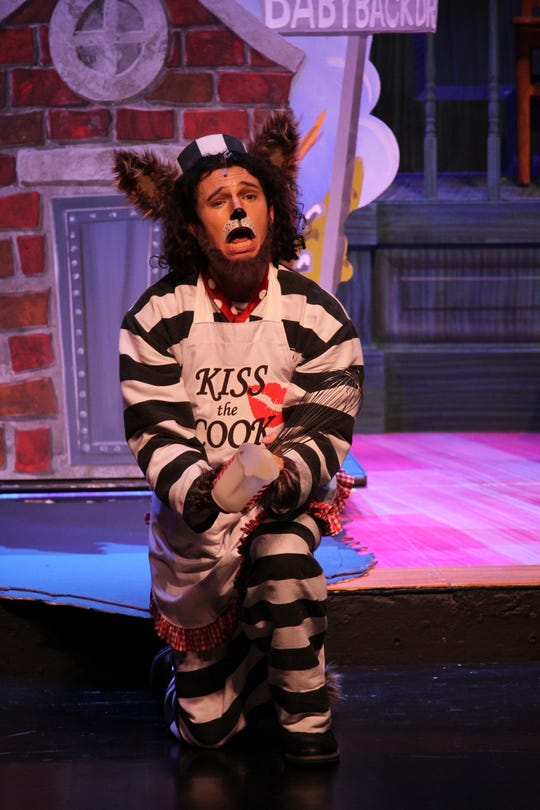 """The audience gets to hear Mr. Alex T. Wolf's (Blake Lafita) side of the story in FSU School of Theatre's production of """"The True Story of the Three Little Pigs!"""""""