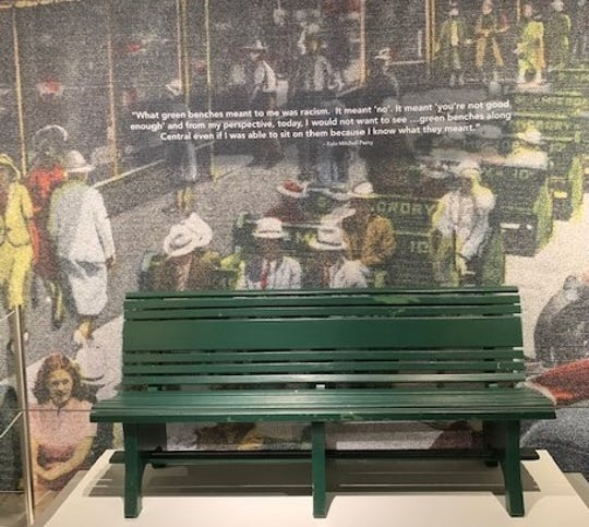 A bench from segregation on display at the Florida Holocaust Museum.