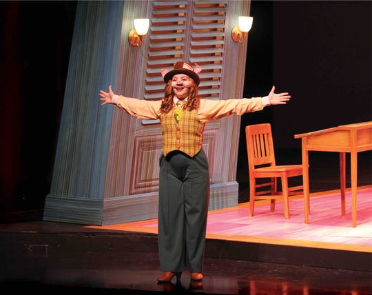 """Lillian Magill (Faith Northcutt) brings you the scoop of the century in FSU School of Theatre's production of """"The True Story of the Three Little Pigs!"""""""