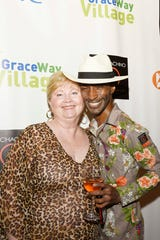 "Bernadette Wilkinson and designer Sabre Mochachino at the 2019 ""Why Not Be Fabulous?"" Mochachino Fall Fashion Show, a benefit for GraceWay Village."