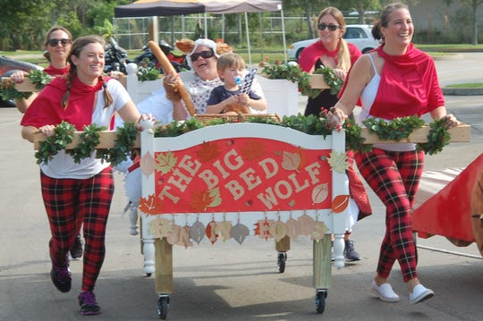 The Little Red Running Hoods and the Big Bed Wolf entry won the best overall theme for the 2019 Family Promise Bed Race in Palm City. Pictured are Brittany Rhoads, Becky Richmond, Amy Burrell, Annie Jordan, Stephanie Pearson and Dane Jordan.