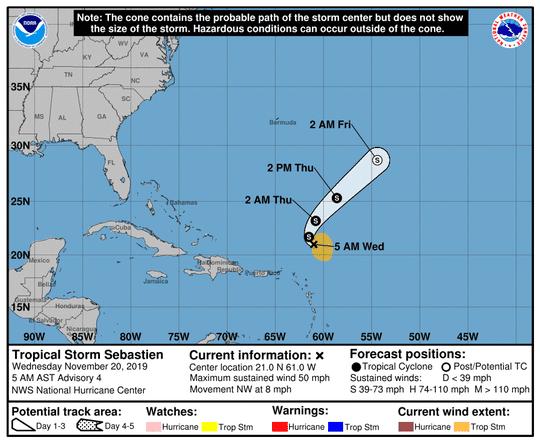 Tropical Storm Sebastien 5 a.m. Nov. 20, 2019