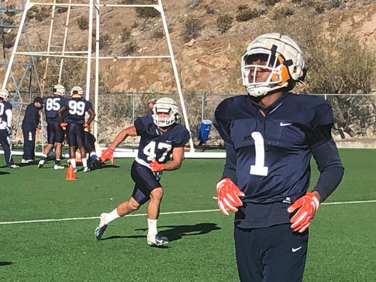 UTEP linebacker Stephen Forester (47) competes in a drill Wednesday at Glory Field