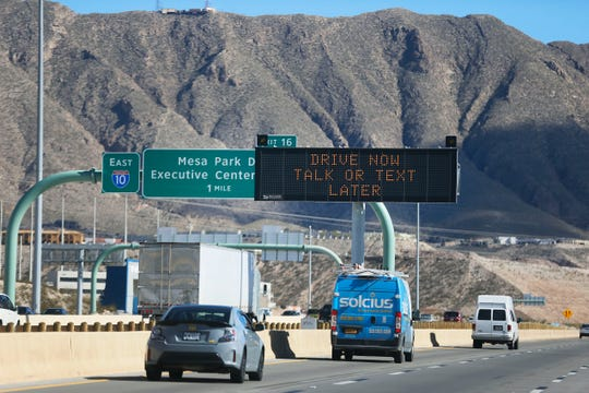 Signs along Interstate 10 throughout El Paso urge safety as the state works toward eliminating traffic fatalities on Texas roads. This sign is shown on Wednesday, Nov. 20, 2019.