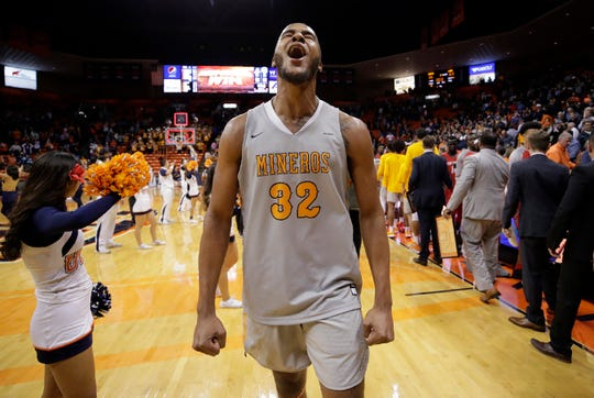 UTEP forward Efe Odigie celebrate the Miners' 66-62 win over New Mexico Tuesday at the Don Haskins Center.